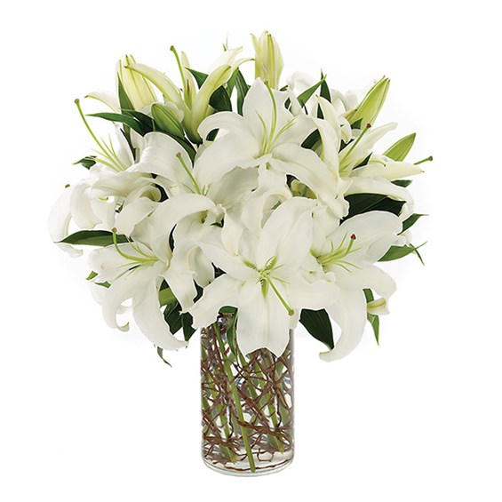 Simply Lily-white flower bouquet for sale