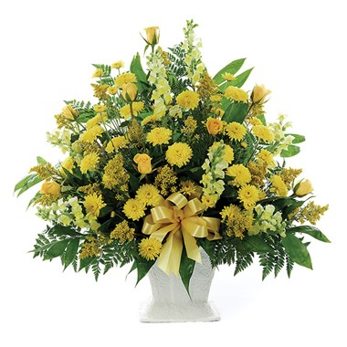 Classic Yellow Mache Basket of sympathy flowers from Ingallina's Gifts