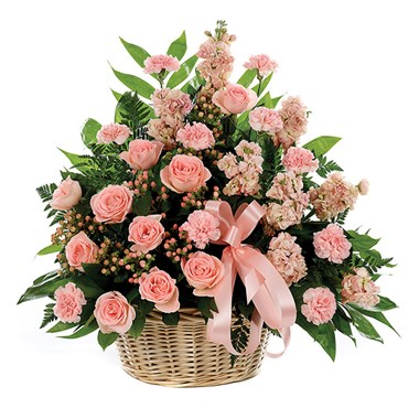 Classic sympathy basket flower arrangements from Ingallina's Gifts