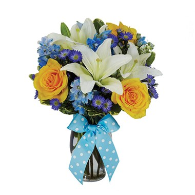 The Bright Blue Skies flower bouquet for sale online from Ingallina's Gifts