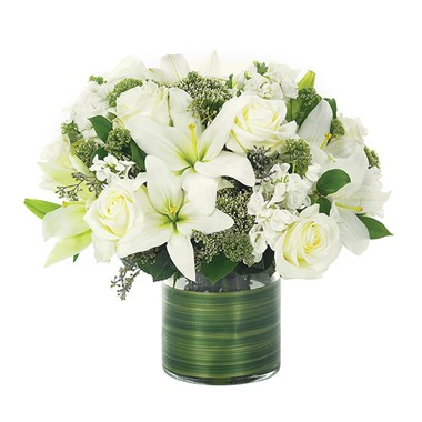 Lovely Lily & Roses Flower Bouquet - all white