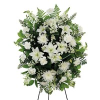 White Standing Spray Sympathy Flowers for sale from Ingallina's Gifts